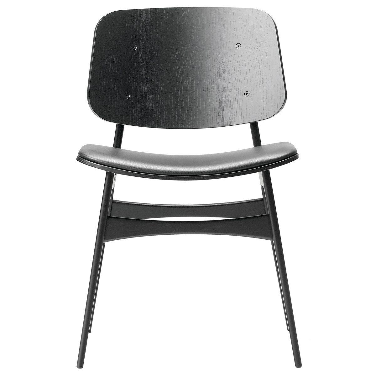 Fredericia S�borg tuoli 3051, puurunko, musta tammi - musta nahka