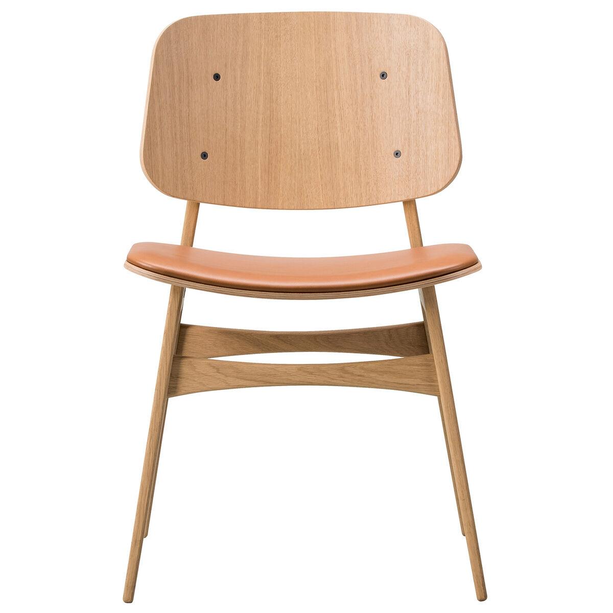 Fredericia S�borg tuoli 3051, puurunko, lakattu tammi - ruskea nahka