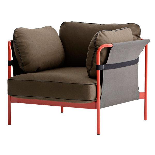 Hay Can nojatuoli, punainen-harmaa runko, Army Canvas