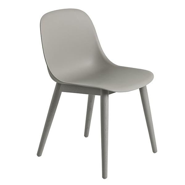 Muuto Fiber ruokapöydän tuoli, puujalat, harmaa