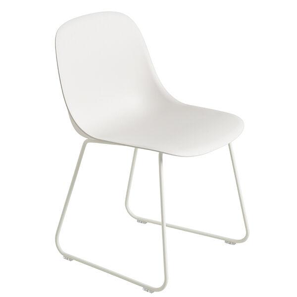 Muuto Fiber ruokapöydän tuoli, kelkkajalat, valkoinen