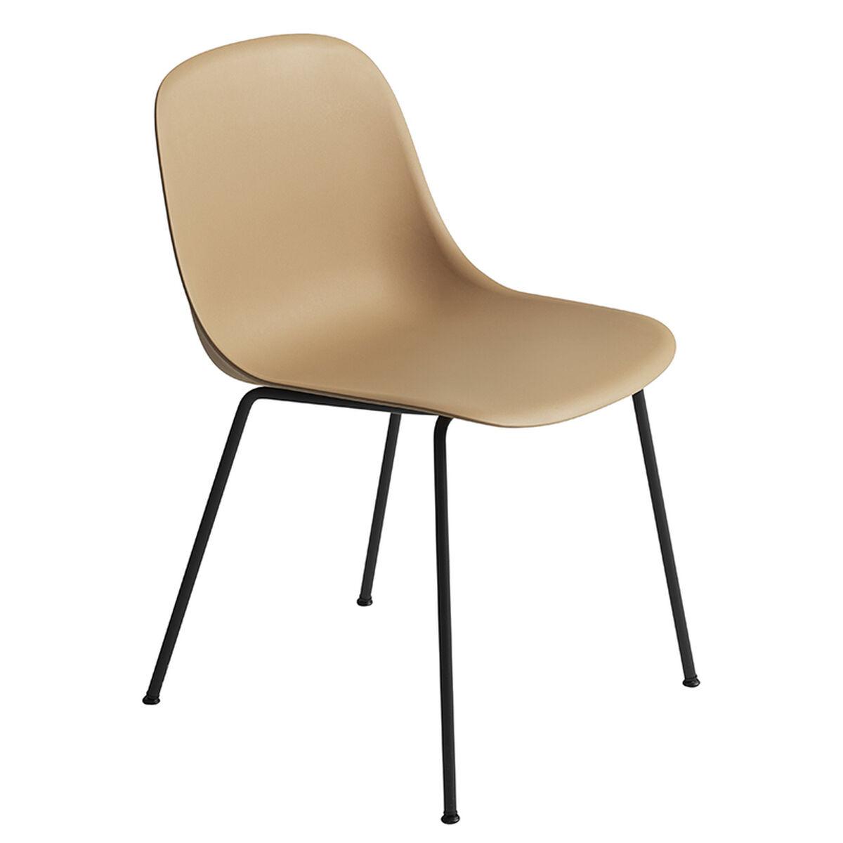 Muuto Fiber ruokapöydän tuoli, putkijalat, okra - musta