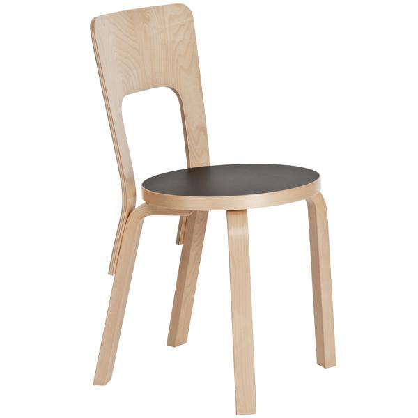 Artek Aalto tuoli 66, musta linoleum