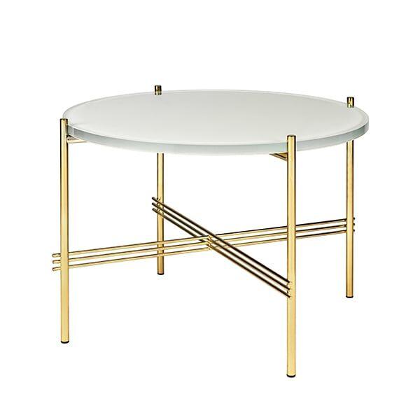 Gubi TS sohvapöytä, 55 cm, messinki - valkoinen lasi