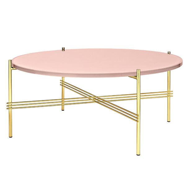 Gubi TS sohvapöytä, 80 cm, messinki - pinkki lasi