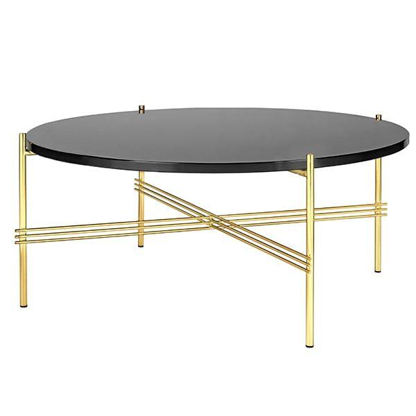 Gubi TS sohvapöytä, 80 cm, messinki - musta lasi