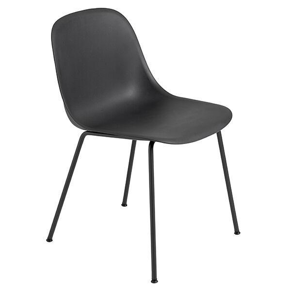 Muuto Fiber ruokapöydän tuoli, putkijalat, musta
