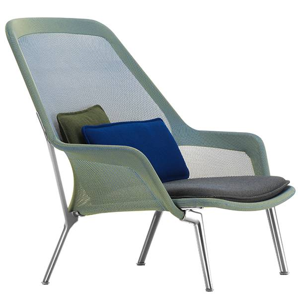 Vitra Slow Chair, sininen/vihre� - alumiini