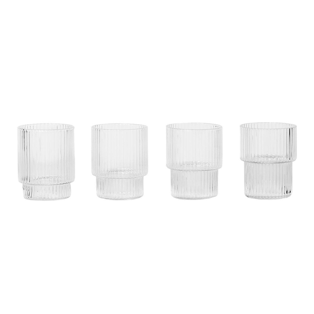Ferm Living Ripple pienet lasit, 4 kpl, kirkas