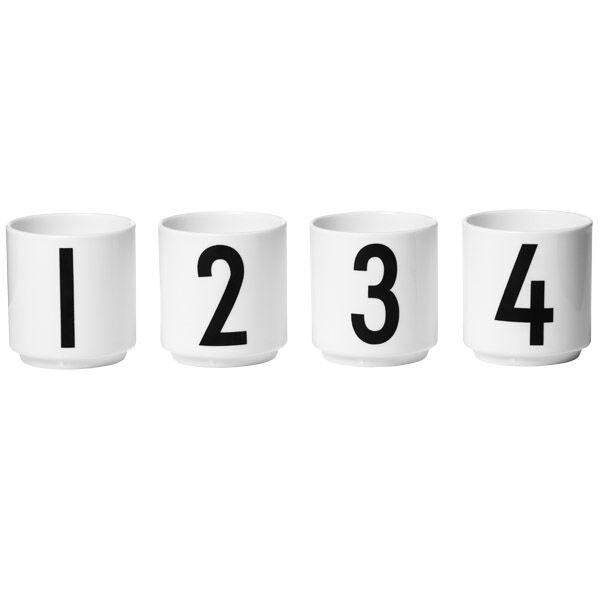 Design Letters Arne Jacobsen espressokupit, 4 kpl