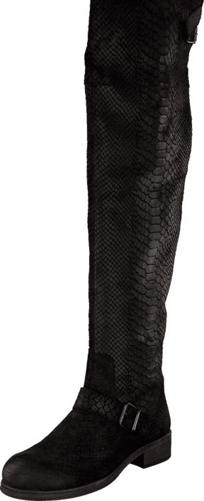 Billi Bi Black Anaconda Suede 200 Black, Kengät, Saappaat ja saapikkaat, Korkeakorkoiset saappaat, Musta, Naiset, 36