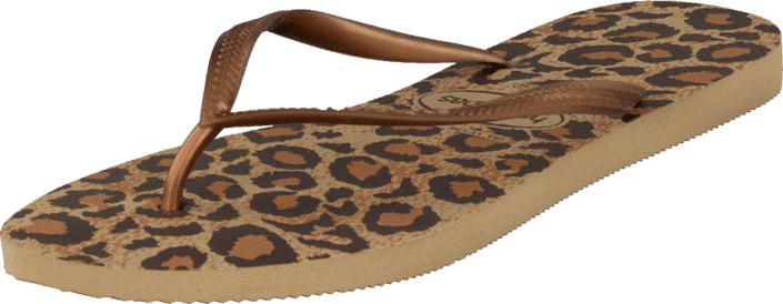 Havaianas Slim Animals Beige, Kengät, Sandaalit ja tohvelit, Flip Flopit, Kuvioitu, Ruskea, Unisex, 25
