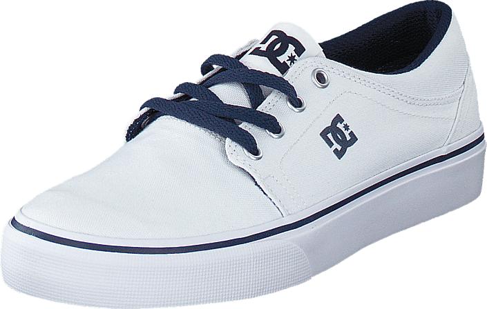 DC Shoes Dc Kids Trase Tx Shoe White/Navy, Kengät, Matalapohjaiset kengät, Kangaskengät, Valkoinen, Unisex, 29