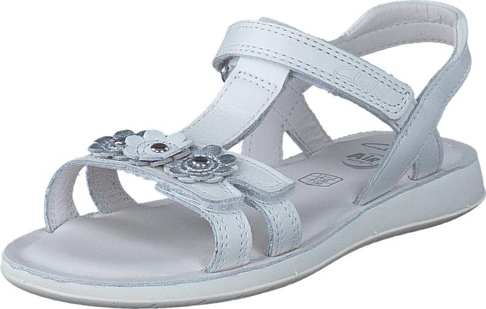 Clarks Sea Sally Inf White Leather, Kengät, Sandaalit ja tohvelit, Sporttisandaalit, , Unisex, 28