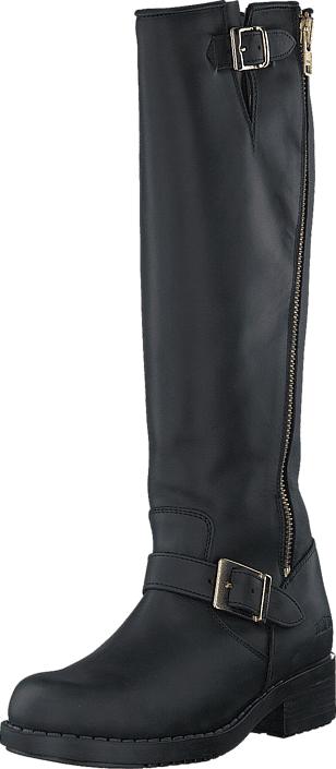 Johnny Bulls High Boot Double Zip Black / Shiny Gold, Kengät, Saappaat ja saapikkaat, Saappaat, Musta, Naiset, 36