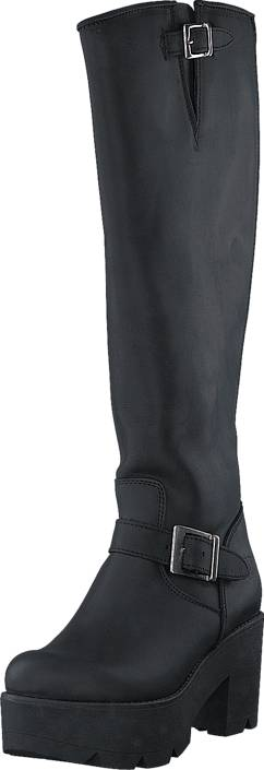 Johnny Bulls High Platform Boot Black / Shiny Silver, Kengät, Saappaat ja saapikkaat, Korkeakorkoiset saappaat, Musta, Naiset, 37