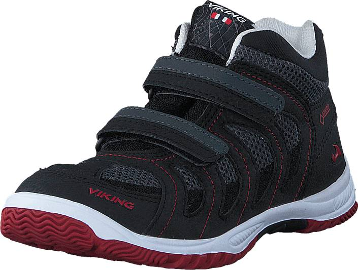 Viking Cascade II Mid Black/Red, Kengät, Sneakerit ja urheilukengät, Urheilukengät, Musta, Unisex, 22