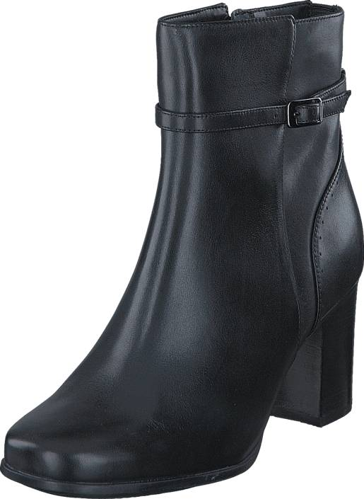 Clarks Kensett Diana Black Leather, Kengät, Saappaat ja saapikkaat, Korkeat nilkkurit, Musta, Naiset, 38
