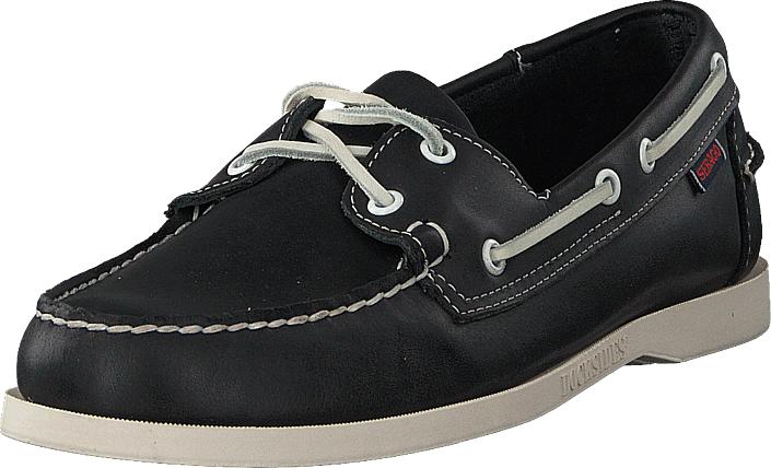 Sebago Docksides Blue Nite Leather, Kengät, Matalapohjaiset kengät, Purjehduskengät, Musta, Miehet, 44