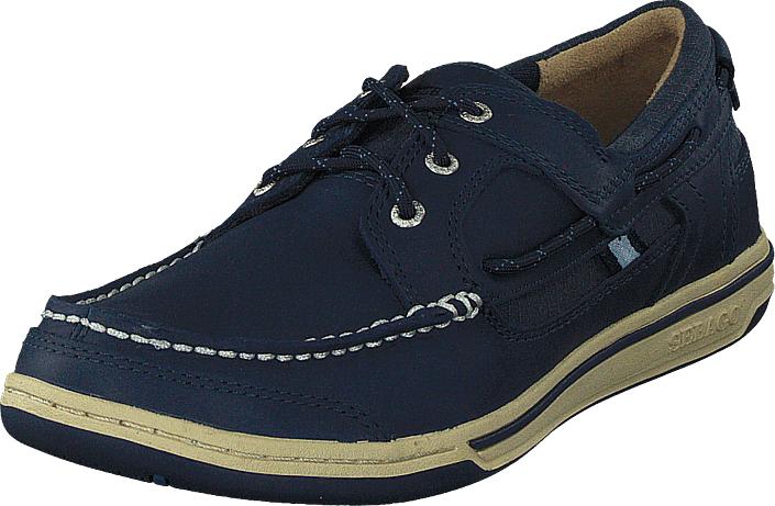 Sebago Triton Three Eye Navy Leather, Kengät, Matalapohjaiset kengät, Kävelykengät, Sininen, Violetti, Miehet, 42