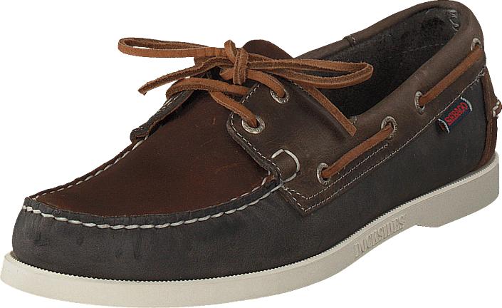 Sebago Spinnaker Brown/navy/grey Lea, Kengät, Matalapohjaiset kengät, Purjehduskengät, Ruskea, Miehet, 43
