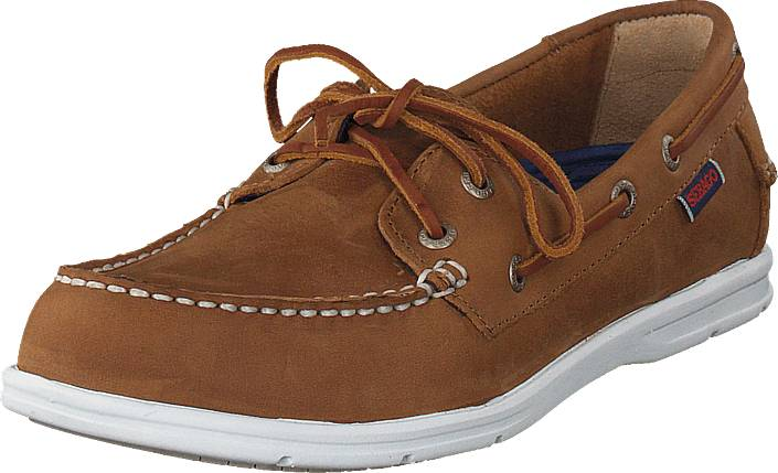 Sebago Litesides Two Eye Med Brown Leather, Kengät, Matalapohjaiset kengät, Purjehduskengät, Ruskea, Naiset, 39