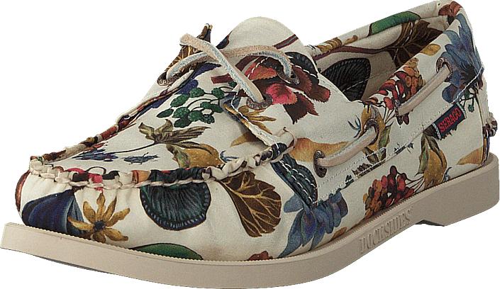 Sebago Docksides Floral Earth Print, Kengät, Matalapohjaiset kengät, Purjehduskengät, Ruskea, Beige, Naiset, 36