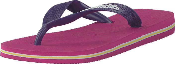 Havaianas Kids Brasil Logo Raspberry Rose/new Purple, Kengät, Sandaalit ja tohvelit, Flip Flopit, Sininen, Vaaleanpunainen, Unisex, 27
