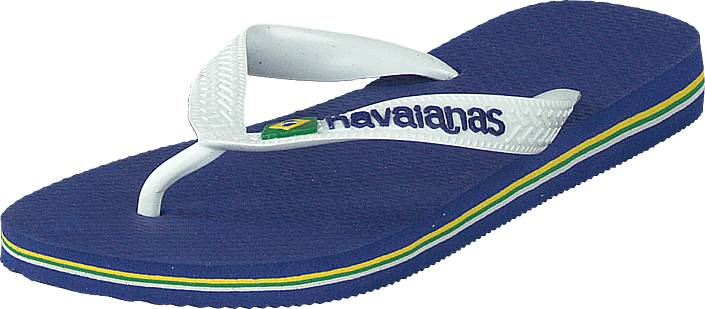 Havaianas Kids Brasil Logo Marine Blue, Kengät, Sandaalit ja tohvelit, Flip Flopit, Harmaa, Sininen, Unisex, 27
