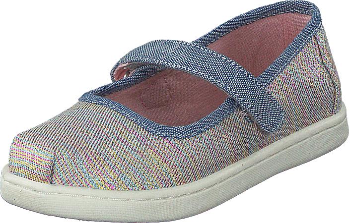 Toms Mary Jane Tiny Pink Multi Twill Glimmer, Kengät, Matalapohjaiset kengät, Maryjane-kengät, Violetti, Harmaa, Unisex, 28