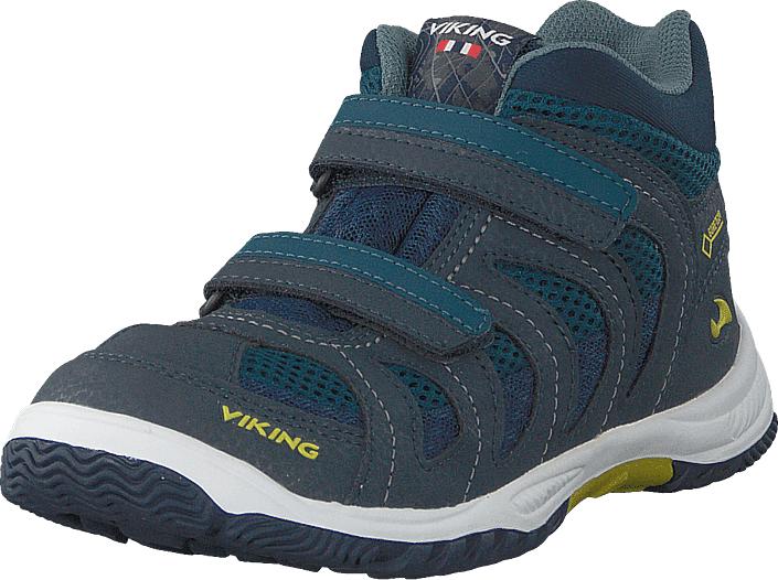 Viking Cascade Ii Mid Gtx Denim/lime, Kengät, Sneakerit ja urheilukengät, Korkeavartiset tennarit, Sininen, Unisex, 21