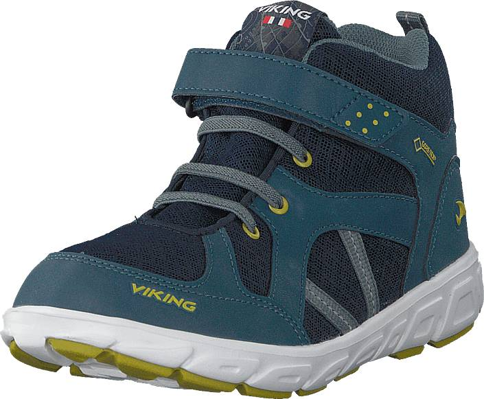 Viking Alvdal Mid R Gtx Denim/lime, Kengät, Sneakerit ja urheilukengät, Korkeavartiset tennarit, Sininen, Unisex, 24