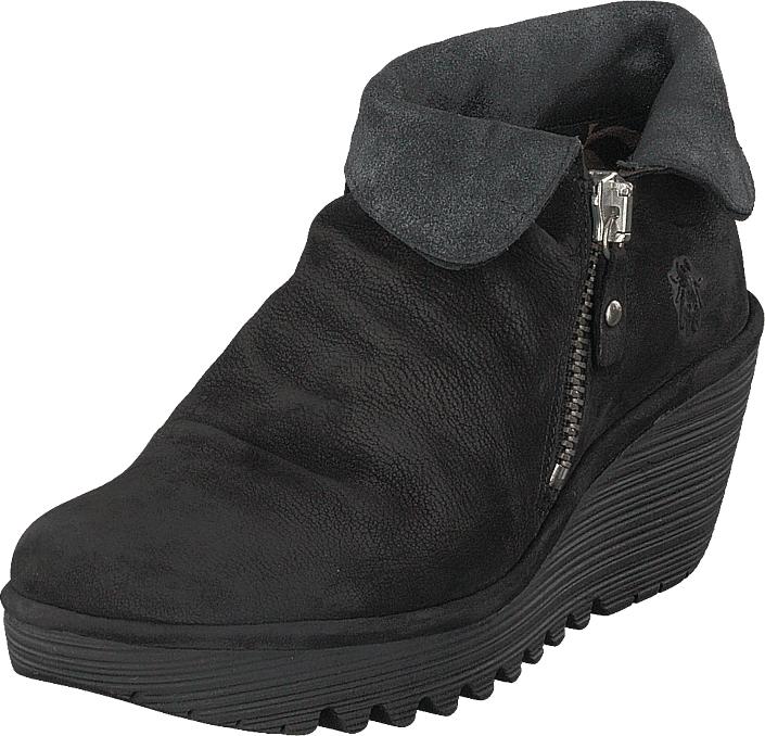 Fly London Yoxi755 Cupido/griffon-black/anthracit, Kengät, Bootsit, Chelsea boots, Musta, Naiset, 39