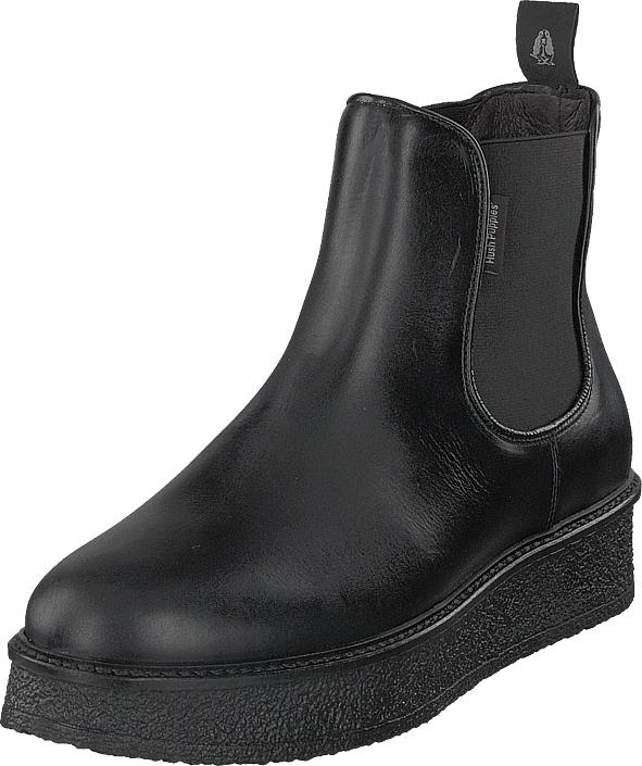 Hush Puppies Vedge Chels Blk Leath Black, Kengät, Bootsit, Chelsea boots, Musta, Naiset, 37