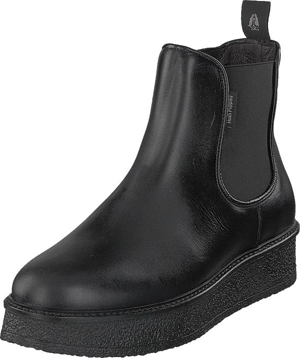 Hush Puppies Vedge Chels Blk Leath Black, Kengät, Bootsit, Chelsea boots, Musta, Naiset, 39