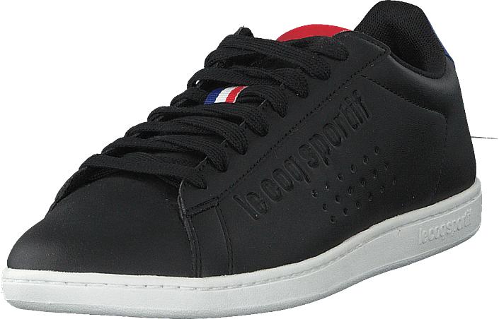 Le Coq Sportif Courtset S Leather Black / Cobalt, Kengät, Sneakerit ja urheilukengät, Varrettomat tennarit, Musta, Unisex, 37
