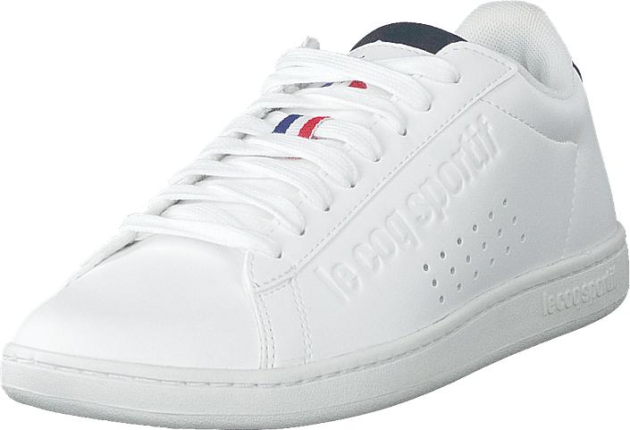 Le Coq Sportif Courtset S Leather Optical White / Dress Blue, Kengät, Sneakerit ja urheilukengät, Varrettomat tennarit, Valkoinen, Unisex, 36