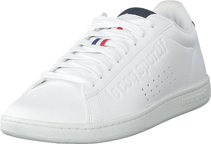 Le Coq Sportif Courtset S Leather Optical White / Dress Blue, Kengät, Sneakerit ja urheilukengät, Varrettomat tennarit, Valkoinen, Unisex, 43