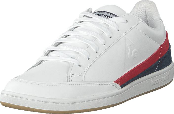 Le Coq Sportif Courtclay Leather Suede Optical White / Dress Blue, Kengät, Sneakerit ja urheilukengät, Varrettomat tennarit, Valkoinen, Miehet, 43