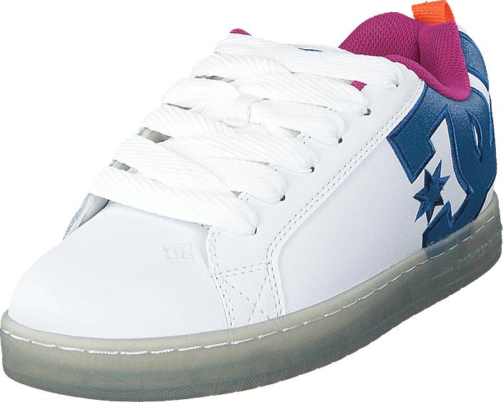 DC Shoes Court Graffik Se White/black/cyan, Kengät, Sneakerit ja urheilukengät, Sneakerit, Sininen, Valkoinen, Miehet, 43