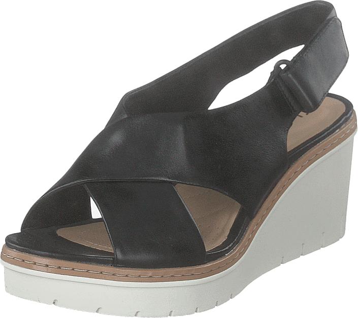 Clarks Palm Candid Black Leather, Kengät, Korkokengät, Matalakorkoiset Sandaletit, Harmaa, Naiset, 37
