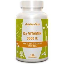 Alpha plus D3-vitamin 3000 IE med K2 och Astaxantin 180 kapselia