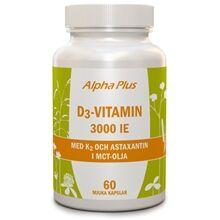 Alpha plus D3-vitamin 3000 IE med K2 och Astaxantin 60 kapselia