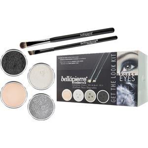 Bellápierre Cosmetics Meikit Setit Smokey Eyes Get the Look Kit Shimmer Powder Snowflake 2,35 g + Shimmer Powder Tin Man 2,35 g+ Shimmer Powder Noir 2,35 g + Mineral Makeup Base 8,5 g + Liner Brush + Oval Eyeshadow Brush 1 Stk.