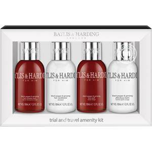 Baylis & Harding Vartalonhoito Black Pepper & Ginseng Travel Set Hair & Body Wash 100 ml + Hair Conditioner 100 ml + Face Wash 100 ml + Aftershave Balm 100 ml 1 Stk.