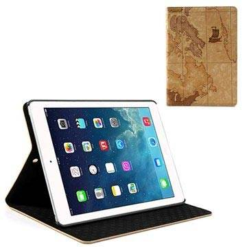 MTP Products iPad Air World Map Folio Leather Case - Brown