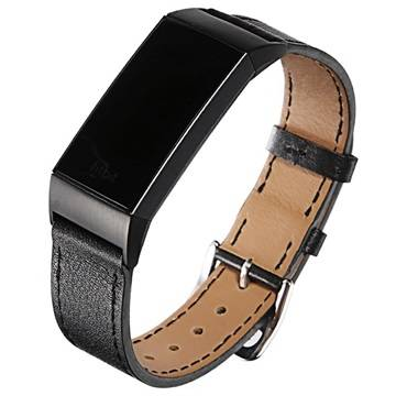 Fitbit Charge 3 Geniune Leather Strap with Connectors - Black