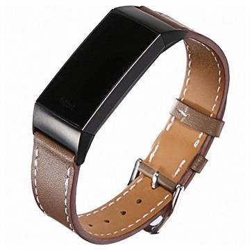 Fitbit Charge 3 Geniune Leather Strap with Connectors - Coffee