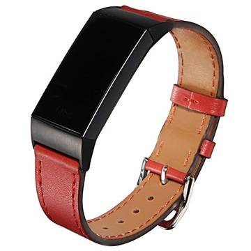 Fitbit Charge 3 Geniune Leather Strap with Connectors - Red