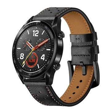 MTP Products Huawei Watch GT Genuine Perforated Leather Strap - Black